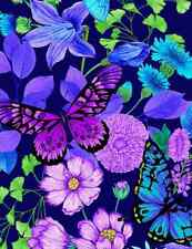 FOREST MAGIC TIMELESS TREASURES LG. FLOWERS BUTTERFLIES COTTON FABRIC 1/2 YD