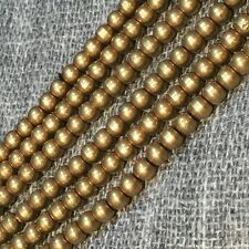 "Antique Gold Raw Solid Brass 4mm Beads Spacers Strand Necklace 30"" Handmade BS07"