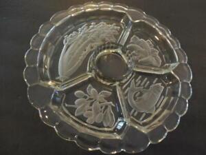 Stunning Crystal Veggie Dip Platter Frosted Vegetale Design 4 Section   ID:20194