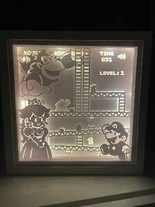 Donkey Kong Shadow Box Light Picture Light Up Handmade Craft Homemade Mario