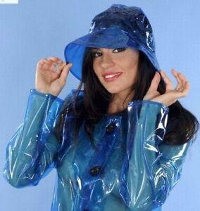 PVC Plastik Regenhut Hut Sixties Hat HW05 Blau transparent für Regenmantel