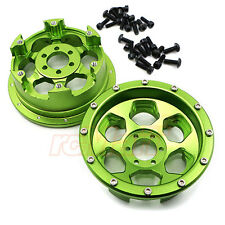 GPM Aluminium 2.2 Wheels Beadlock 6 Poles Green Axial Yeti RC Cars #YT1006F/R-G