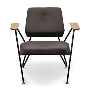 Margot Mordern Accent Chair with Metal Legs and Solid Wood Armrests
