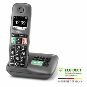 Gigaset Easy mit Anrufbeantworter schnurloses Senioren-Telefon anthrazit-grau