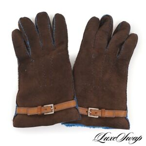 GORGEOUS Made in Italy Chocolate Brown Suede Peacock Blue Shearling Gloves 9 NR
