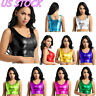 US Women Wetlook Metallic Crop Top Clubwear Bustier Blouse Shirt Dance Tank Vest