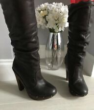 River Island Brown Leather Calf Length Slouch Boots Size 5
