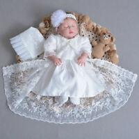 Christening Baptism Bonnet Baby Infant Girls Boys Toddler Ivory White 0 3 6 9 12
