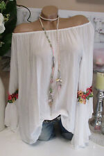 chemisier blouse italienne hippie broderie blanc Carmen trompettes manche BOHO