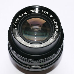 Vivitar Komine MC Close Focus Wide Angle 28mm f2 f1:2 Pentax K mount Lens N.MINT