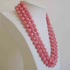 Natural 8mm faceted 3 rows light pink Rhodochrosite gemstone bead necklace17-19""