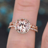 1.6ct Round Peach Morganite Engagement Ring 14k Rose Gold Finish Halo Bridal Set