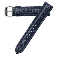 22mm Hadley-Roma Men's Croc Grain Leather Stitched Blue Watch Band Strap  MS907