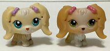 Littlest Pet Shop LPS Pair of Maltese Dogs Green Brown & Turquoise Eyes
