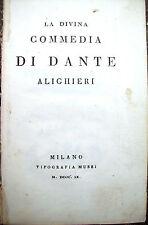 1809 DIVINA COMMEDIA DI DANTE ALIGHIERI 'IL PURGATORIO'