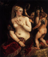 Dream-art Oil painting Tiziano Vecellio - Venus with a Mirror and angel cupid