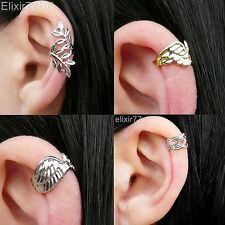 UK NEW SILVER / GOLD LEAF WING EAR CUFF CLIP WRAP EARRING PUNK STUD GOTHIC CROSS