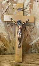 "Vintage Wooden Cross w/ Copper Jesus Christ CRUCIFIX 5"" x 10"""
