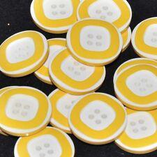 Mercerie lot de 5 Boutons plastique jaune et blanc 22mm button