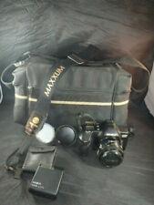 Vtg MINOLTA MAXXUM 3000i CAMERA 35-50mm Flash Lens Covers W/Bag-PARTS/REPAIR