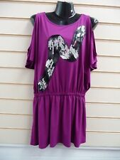 LADIES TOP TUNIC PURPLE SIZE 12 SEQUIN PANEL DETAIL COLD SHOULDER BNWT (G015