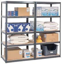 Pack of 2 Boltless Metal Storage Shelves Heavy Duty Racking GREY 5 Tier Display