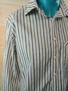 RM WILLIAMS Mens Shirt COTTON SIZE XL Striped Slim Fit