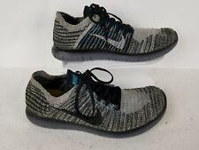 Nike Free RN Flynit  Walking/ Running Shoe Black Gray Blue Size 10.5 US