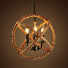 Vintage Retro Industrial Ceiling Lamp Pendant Lights Cafe Hemp Rope Chandeliers
