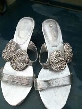 Womens New Silver low Heels  Evening shoes with big diamante  bow