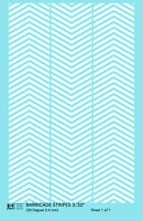 K4 HO Decals White 3/32 Inch 30 Degree Diagonal Barricade Stripes Set