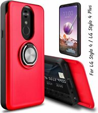 For LG Stylo 4 / LG Stylo 4 Plus Case Ring Magnetic Holder Ring Kicksand Red NEW