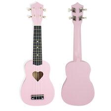 "21"" Soprano Basswood Ukulele Uke 4 Strings Hawaii Guitar Pink Musical Instrument"