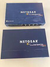 Pair of Netgear DS104 Ethernet Hubs 4 Port Dual Speed 10/100 Mbps Net Gear