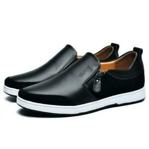 Mens' New Increasing Loafer Elevator Zipper Shoes Chic Faux Leather Breathable