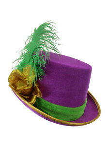Womens Velvet Mardi Gras Top Hat Gold Rose Green Feather Costume Accessory