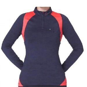IJP Ian Poulter 1/4 Zip Ladies Micro Fleece Lined Layer Dark Navy/Coral 8,12 New