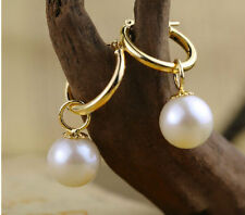 perfect 9-10mm round white Australia south sea pearl dangle earring 14K GOLD