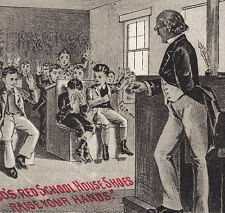 Dakota IL c. 1887 Henderson Red School House Shoe Teacher Advertising Trade Card