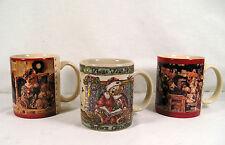 "3 Boyd's Bear Mugs Lot, Christmas Bear ""Twas The Night Before Christmas"" 1990's"