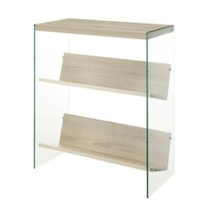 Convenience Concepts SoHo Bookcase, Weathered White/Glass - 131559WW