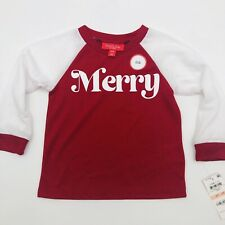 Macys Family PJs Toddler Kids Merry Holiday Pajama Sleep Shirt Red White 604