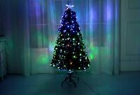 Green Led & Fibre Optic Christmas Xmas Tree with Lights Pre-Lit Decorated 4-7FT