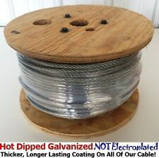 "Aircraft Steel Cable Wire Rope 250' 3/16"" 7x7 Hot Dipped Galvanized Steel Cable"