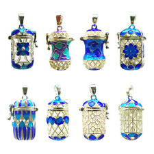 Enamel Filigree Flower Perfume Bottle Essential Oil Diffuser Pendant DIY