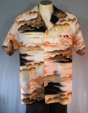 Rai Nani White XL Hawaiian Shirt Welt Pocket Boats Waves Vintage Polyester