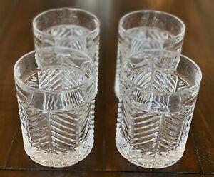 Ralph Lauren Herringbone Tumbler Crystal Glasses - Set of 4 - Bar Cocktail