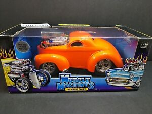 Funline Muscle Machines 1:18 '41 Willys Coupe Orange Diecast Car 2001 NIB