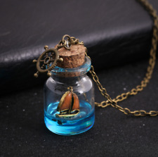 Women Sea Ocean Luminous Boat Anchor Necklace Glass Wish Bottle Pendant Jewelry