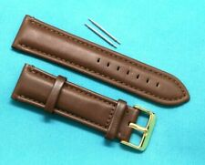 24mm Brown Genuine Leather Replacement Watch Band Gold Buckle - Guess Fossil 24